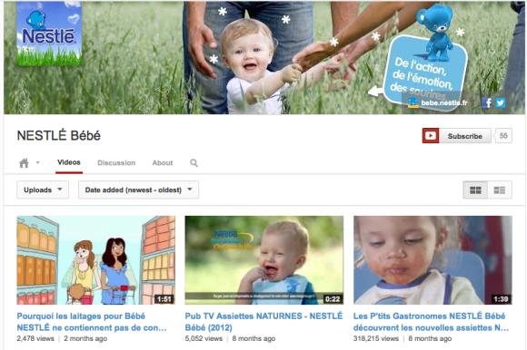 Exemple de la chaîne officielle de Nestlé Bébé France intégrant la Cover Art et les réseaux sociaux